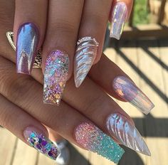 Trendy nails, summer acrylic nails designs, bling acrylic nails, acrylic to Chunky Glitter Nails, Bling Acrylic Nails, Summer Acrylic Nails, Acrylic Toes, Stiletto Nails, Crazy Acrylic Nails, Summer Nails, Unicorn Nails Designs, Unicorn Nail Art