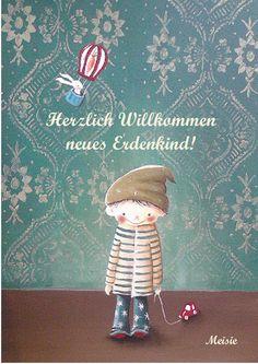 Glückwunschkarte zur Geburt von Meisie Berlin auf DaWanda.com Berlin, Etsy, Decor, Pretty Words, Cards, Kids, Amazing, Projects, Decoration