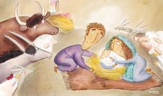 The baby Jesus is born in Bethlehem. Taken from The Christmas Promise, written by Alison Mitchell and illustrated by Catalina Echeverri. You can download illustrations for free from our websites to use to tell the Christmas story in your church.