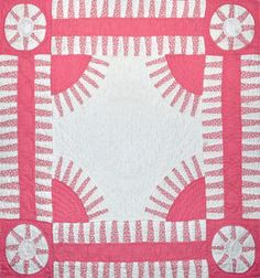 closeup, pink-and-white New York Beauty quilt, collection of Bill Volkening at Wonkyworld Pink Quilts, Old Quilts, Strip Quilts, Antique Quilts, Barn Quilts, Vintage Quilts, Quilt Blocks, Two Color Quilts, New York Beauty