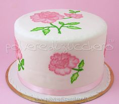 flowered cake with brush embroidery