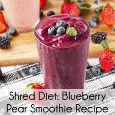 6 Ice Cubes 1 cup Blueberries, frozen 1 1/2 Pears, whole 1 cup Yogurt 1 teaspoon Sugar