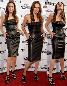 angelina jolie michael kors black leather dress  I LOVE this dress!!