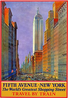Travel by train to see Fifth Avenue, NYC. #vintage #travel #posters #USA