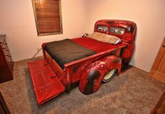 Old truck bed great for a kids room Car Part Furniture, Automotive Furniture, Automotive Decor, Furniture Plans, Kids Furniture, Automotive Carpet, Automotive Group, Furniture Chairs, Garden Furniture