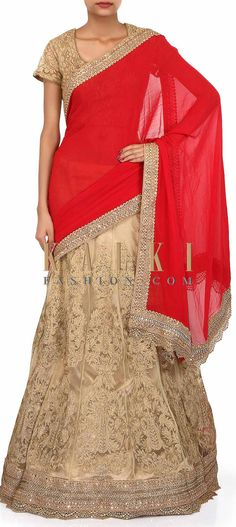 Buy Online from the link below. We ship worldwide (Free Shipping over US$100). Product SKU - 273965. Product Link - http://www.kalkifashion.com/lehenga-saree-in-red-and-beige-with-thread-embroidery-only-on-kalki.html