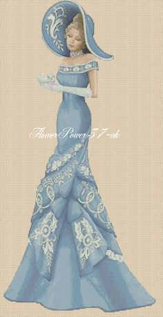 Cross stitch chart Elegant Lady 156A full length Flowerpower37-uk
