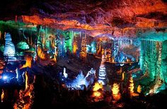 .Sorek Stalactites Cave, Israel, illuminated with new lighting system.