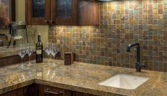 This picture gallery of great backsplashes is sure to charge up your imagination for your kitchen remodel!: Like the Rustic Look? Try Tumbled Slate For Your Backsplash Slate Backsplash, Kitchen Backsplash, Backsplash Ideas, Kitchen Countertops, Kitchen Cabinets, Rustic Kitchen, Diy Kitchen, Kitchen Ideas, Slate Kitchen