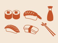 Sushi Icons designed by Linda Nakanishi. Connect with them on Dribbble; Restaurant Icon, Restaurant Branding, Menu Design, Branding Design, Design Design, Graphic Design, Fun Illustration, Food Illustrations, Business Card Design