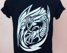 "Cartoon T-shirt Blue Eye White Dragon ""Yugioh Cartoon"" Style  - Unisex Adult T-Shirt  Black Tshirt"