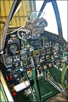The cockpit of the aircraft Thunderbolt. Ww2 Aircraft, Fighter Aircraft, Military Aircraft, Fighter Jets, Image Avion, P 47 Thunderbolt, Aircraft Interiors, Airplane Fighter, Ww2 Planes