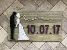 MADE TO ORDER Bride and Groom String Art with Wedding Date