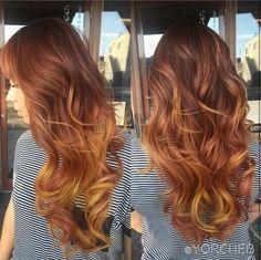 Pumpkin spice hair ombre