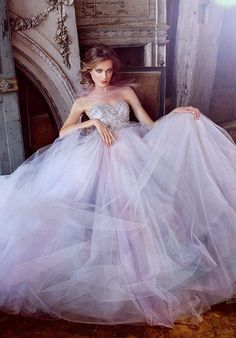 Style 3555 from Lazaro | Wisteria tulle bridal ball gown, strapless sweetheart neckline, jeweled chandelier beaded bodice, natural waist, chapel train. | https://www.theknot.com/fashion/3555-lazaro-wedding-dress