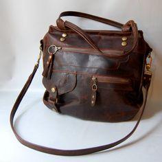 6 pocket Okinawa leather bag in walnut wood brown