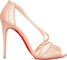 Expertly showcasing the elegant lines of your foot, Christian Louboutin's Slikova 100 sandals deliver breathtaking results. Worked in peekaboo mesh and patent-leather straps, this striking pair will scream signature Louboutin style with every step. Nude Heels, Patent Leather, Christian Louboutin, Pairs, Sandals, Elegant, Wedding, Shoes, Style