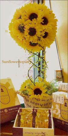 Centerpiece: Sunflower topiary yellow #wedding #picnic #brunch #party