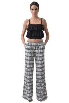 Flared trouser printed - Women clothes | Christina Kontova