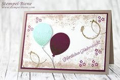 stampin up stemelparty; Stempelpartykarte; Zeitlose Glückwunschkarte; Stempel-Biene; stampin up timeless textures; stampin up Partyballons; Stampinup bestellen