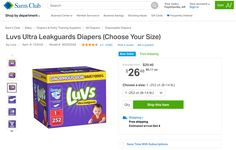 **HOT DEAL** Sam's Club, or the Sam's Club app is offering a huge box of Luvss diapers at an amazing price PLUS for a limited time get an automatic $3 off savings, PLUS free shipping and free PLUS free automatic diaper subscription options. Phew… that's a lot to offer, not to mention the time and money saved! #AD #LUVSsavestheday  http://www.dazzlingdailydeals.com/save-huge-luvs-shop-sams…/