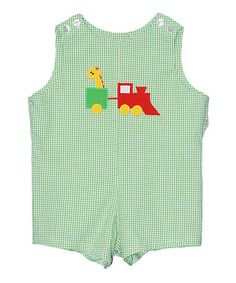 Another great find on #zulily! Green Toy Train Shortalls - Infant & Toddler by Betti Terrell #zulilyfinds