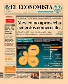"""""""México no aprovecha acuerdos comerciales"""", en nuestra portada de este 20 de diciembre de 2013."""