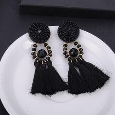 Beagloer Fashion Multicolored Pompom Earrings Trendy Statement Earrings  Rope Tassel Drop Dangle Women Jewelry Fringing Earrings 6ad4cb774e9e