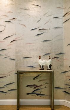 de Gournay fish wallpaper - the hand painted wallpaper is so beautiful and has so much depth and character - for bath/guest bath Hand Painted Wallpaper, Fish Wallpaper, Painting Wallpaper, Fabric Wallpaper, Handmade Wallpaper, Silver Wallpaper, Custom Wallpaper, De Gournay Wallpaper, Chinoiserie Wallpaper