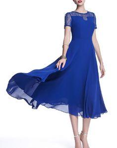 Smart Blue Boho Crew Neck Paneled Midi Dress