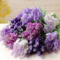 Material:  Silk lavender and plastic vine Color: Dark purple / Light purple / White /  Rose red Tota