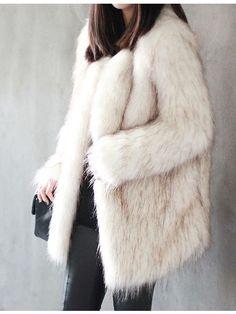 Mixed Brown Faux Fur White Coat   Choies