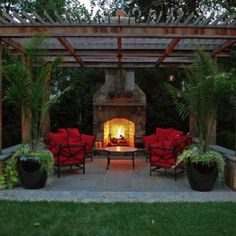 Outdoor Fireplace Landscaping | Maryland Outdoor Fireplace Installation Modern Landscape Design, Modern Landscaping, Backyard Landscaping, Backyard Pergola, Outdoor Pergola, Backyard Retreat, Urban Landscape, Outdoor Fireplace Designs, Backyard Fireplace