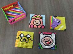 Adventure Time Perler Bead Coaster Set by KezCreations