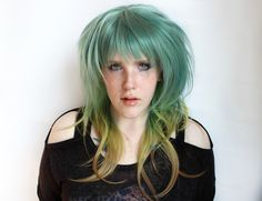 SALE Long Blue Wig. Straight Scene Wig. Green Yellow Cosplay wig. Emo Alternative Hair | Caribbean by MissVioletLace on Etsy https://www.etsy.com/listing/218142046/sale-long-blue-wig-straight-scene-wig