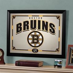 Boston Bruins printed mirror, would look great in the home office. $48.99