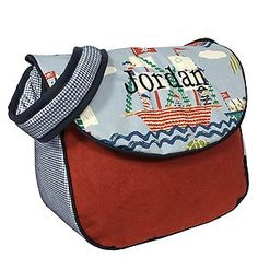 Hoohobbers personalized diaper bag in the ahoy! design collection is alive with whimsical pirate ships and pirates, a nautical setting... what baby boy wouldn't love it!