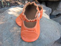 Baby Shoes Classic MaryJane with Accordian Pleat in Orange Leather. $32.00, via Etsy.