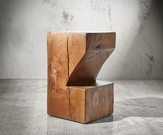 Barstuhl Blokk 30x60 cm Akazie Natur Fußablage massiv Möbel Stühle Barstühle