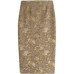 Rochas Floral Jacquard Pencil Skirt ($565) ❤ liked on Polyvore featuring skirts, bottoms, gold, brown skirt, peplum skirt, floral pencil skirt, evening skirts and floral knee length skirt