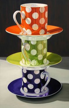 polka dots tea set - these are traditional coffee cups - not tea cups! Coffee Cups, Tea Cups, Damier, Realistic Paintings, Art Paintings, Connect The Dots, Photorealism, Cup And Saucer, Colored Pencils