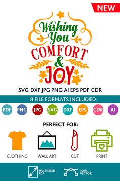 Wishing You Comfort and Joy SVG Cut Files & Wall Art Quote Printable Art Decor room Art Poster digital Svg Dxf Cdr Eps Ai Jpg Pdf Png