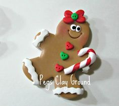 Gingerbread Pendant Hair Bow center topper by PegsClayGround, $4.00