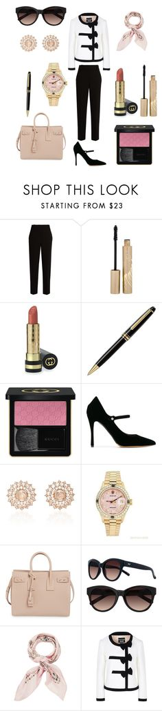 """If I was a Rich Girl..."" by giachrysa ❤ liked on Polyvore featuring The Row, Stila, Gucci, Montblanc, Tabitha Simmons, Nam Cho, Rolex, Yves Saint Laurent, LC Lauren Conrad and Manipuri"