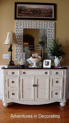 Going to use Annie Sloan Chalk Paint in Old White on my new Craigslist dresser under the TV in my living room. I'm going to restain the top a dark brown to match the other furniture in the room