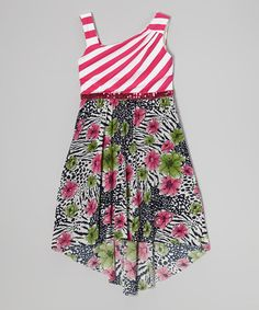 Another great find on #zulily! Fuchsia Jungle Hi-Low Dress - Girls #zulilyfinds