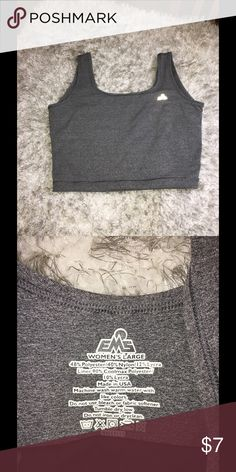 EMS Grey Crop Sports Tank Bra Large Charcoal grey active tank top- bra.  Made by EMS. Size large.  Great condition.   Important:   All items are freshly laundered as applicable prior to shipping (new items and shoes excluded).  Not all my items are from pet/smoke free homes.  Price is reduced to reflect this!   Thank you for looking! EMS Tops Tank Tops