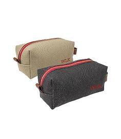 Gift idea for the groom or groomsmen: Personalized Canvas and Leather Dopp Kits