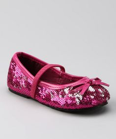 Take a look at this Fuchsia Sequin Flat by Chatties on #zulily today!