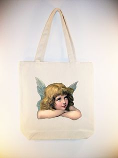 Beautiful Girl Angel on 15x15 Canvas Tote by Whimsybags, $12.00